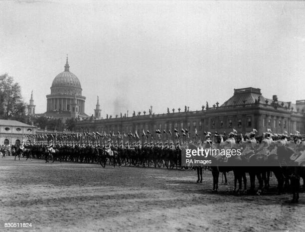 German Lancer regiment of the Imperial Guard parades in presence of Kaiser Wilhelm II during the annual military review held at Potsdam, near Berlin.