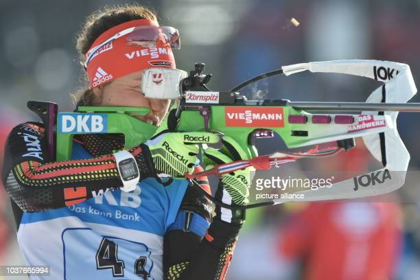 German Laura Dahlmeier at the shooting range before the women 4x6 km Relay competition at the Biathlon World Championships in the Holmenkollen Ski...