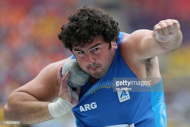 German Lauro of Argentina competes in the Men's Shot Put qualification during Day Six of the 14th IAAF World Athletics Championships Moscow 2013 at...
