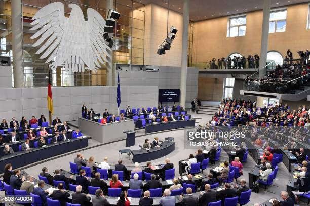 German lawmakers are seen during a debate prior to a vote on samesex marriage in the Bundestag Germany´s lower house of Parliament in Berlin on June...
