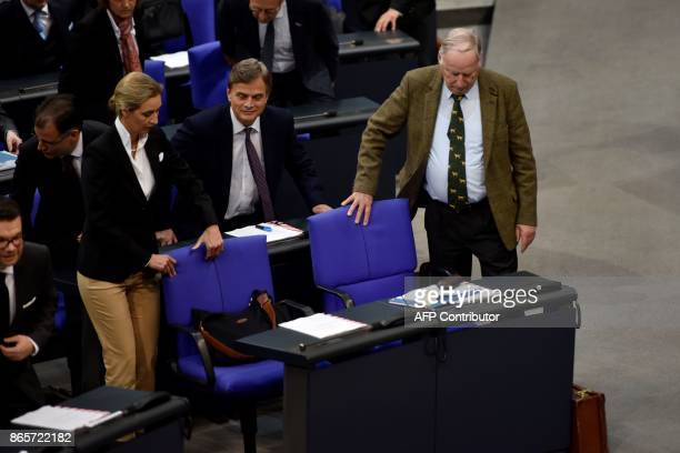 German leader of the parliamentary group of the Alternative for Germany farright party Alexander Gauland leader of the AfD parliamentary group Alice...
