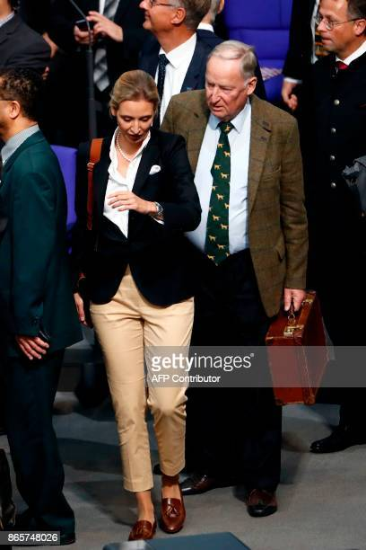 German leaders of the parliamentary group of the Alternative for Germany far-right party Alexander Gauland and Alice Weidel arrive for the first...