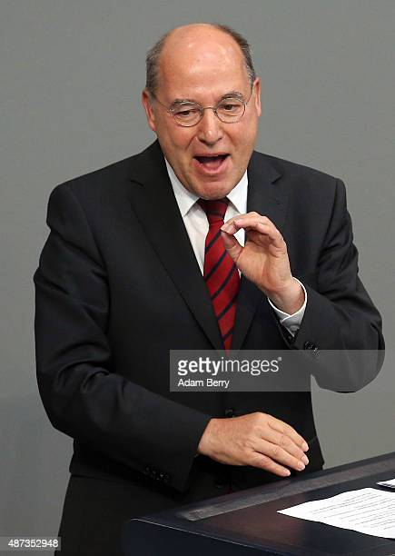 German Left Party politician Gregor Gysi speaks during a session of the Bundestag the German parliament on September 9 2015 in Berlin Germany German...