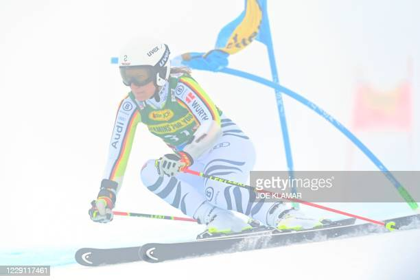 German Lena Durr competes during the first run of the women's giant slalom event during the FIS Alpine Ski World Cup in Soelden, Austria, on October...