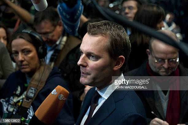 German liberal party FDP member and Health Minister Daniel Bahr speaks to reporters after a meeting of the FDP leadership at their headquarters in...