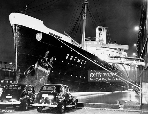 German liner Bremen waits at a Hudson river pier as customs officials search the vessel and refuse to let it sail Detaining of the ship followed...