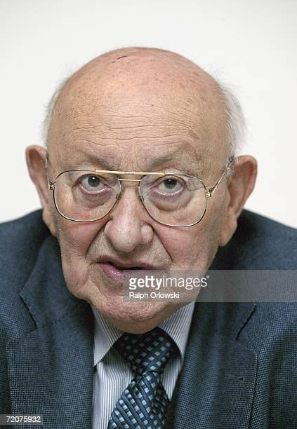 German literary critic Marcel ReichRanicki looks up during a press conference at the German Film Museum October 3 2006 in Frankfurt Germany German...