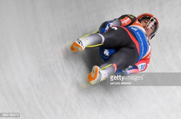 German luger Johannes Ludwig in action during the men's singles event of the Luge World Cup 2018 in Schonau am Konigssee in Germany, 06 January 2018....
