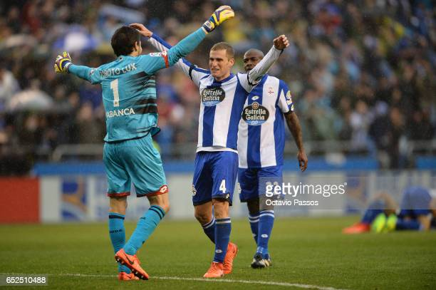German Lux and Alex Bergantinos of RC Deportivo La Coruna celebrates the victory against FC Barcelona during the La Liga match between RC Deportivo...