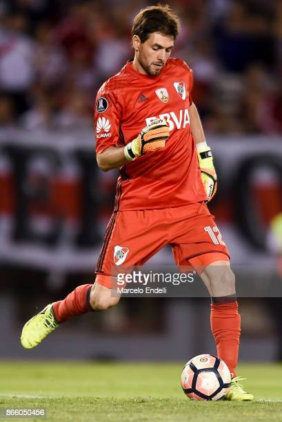 German Lux goalkeeper of River Plate kicks the ball during a first leg match between River Plate and Lanus as part of semifinals of Copa CONMEBOL...