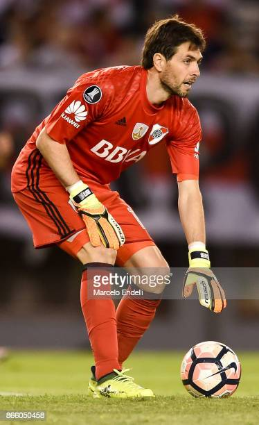 German Lux goalkeeper of River Plate looks on during a first leg match between River Plate and Lanus as part of semifinals of Copa CONMEBOL...