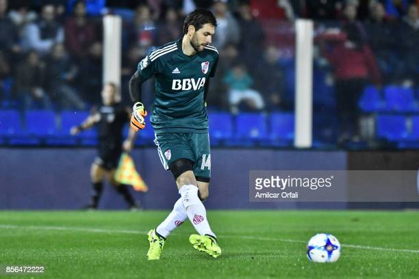 German Lux goalkeeper of River Plate plays the ball during a match between Tigre and River Plate as part of Superliga 2017/18 at Jose Dellagiovanna...