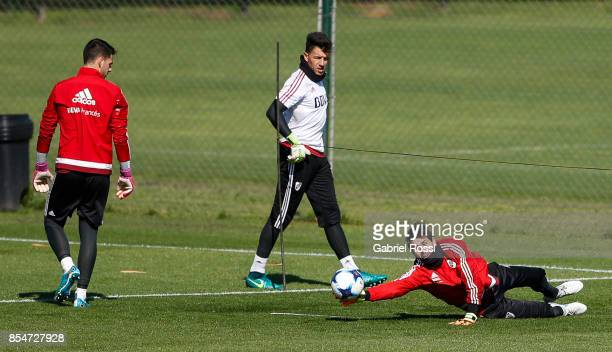 German Lux of River Plate catches the ball during a training session at River Plate's training camp on September 27 2017 in Ezeiza Argentina