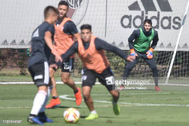 German Lux of River Plate guards the net during a training session at River Camp Ezeiza on March 21 2019 in Buenos Aires Argentina
