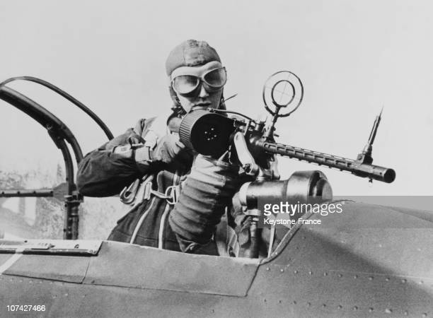 German Machine Gunner In A Military Aircraft On February 22Th 1939