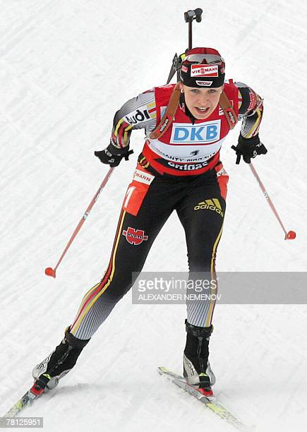 STORY FILES German Magdalena Neuner skies for the gold in women's 10 km pursuit competition 17 March 2007 at the ski stadium in Siberian city of...