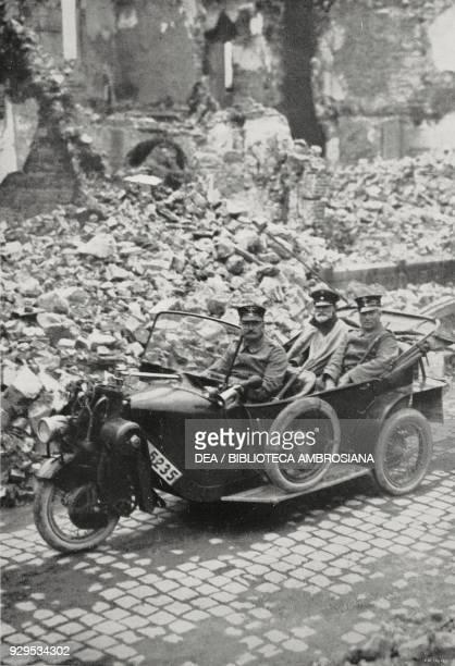 German Major Beeger commander of Dinant visiting the ruins of the city Belgium World War I FotobureauxAmsterdam from L'Illustrazione Italiana Year...