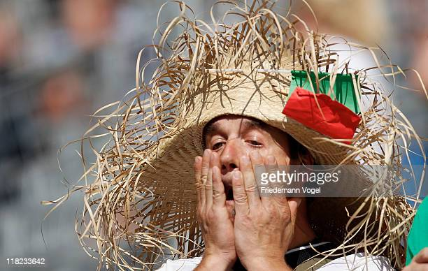 German man supporter of the team of Mexico is thrilled during the FIFA Women's World Cup 2011 Group B match between New Zealand and Mexico at...