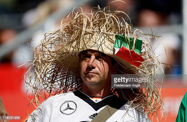 German man supporter of the team of Mexico looks on during the FIFA Women's World Cup 2011 Group B match between New Zealand and Mexico at...
