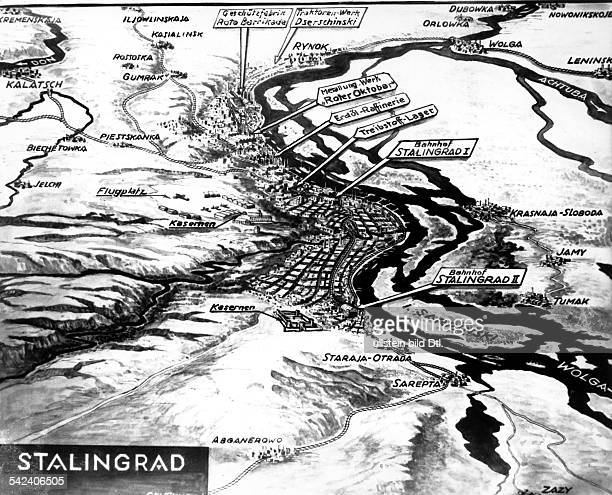 WORLD WAR II MAP OF STALINGRAD German map of Stalingrad and the Volga River Map identifies such areas as refineries and other industry barracks and...