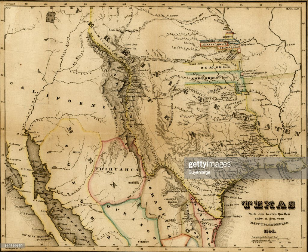 Map Of Texas Mexico.German Map Of Texas And Northern Mexico 1846 Illustration By