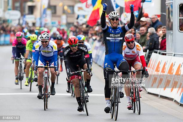 German Marcel Kittel of team Etixx QuickStep celebrates after winning the first part of the third and final stage of the Driedaagse De Panne Koksijde...