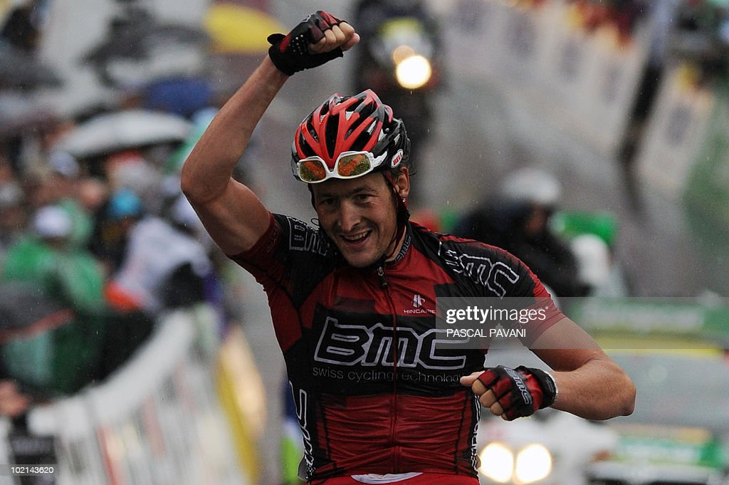 German Marcus Burghardt celebrates on the finish line as he wins the fifth stage, Wettingen - Frutigen, of the Tour de Suisse cycling race on June 16, 2010. BMC's Marcus Burghardt claimed his first major win of the season when he dominated the rain-hit fifth stage of the Tour of Switzerland today.