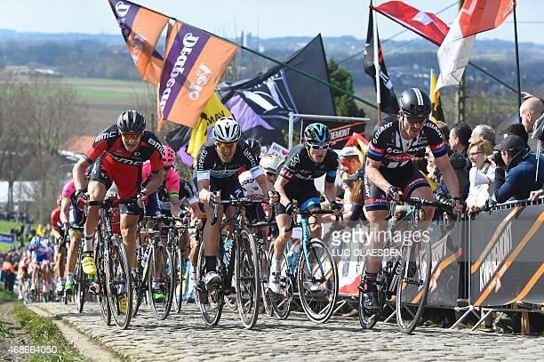 German Marcus Burghardt of BMC Racing Team British Geraint Thomas of Team Sky German John Degenkolb of Team GiantAlpecin and Matteo Trentin race on...