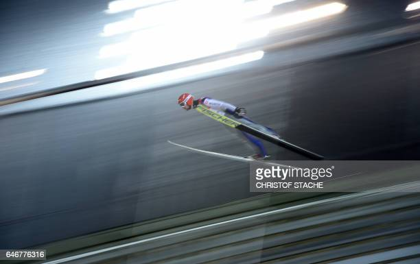 German Markus Eisenbichler soars during the qualification of the men Large Hill Individual event of the 2017 FIS Nordic World Ski Championships in...