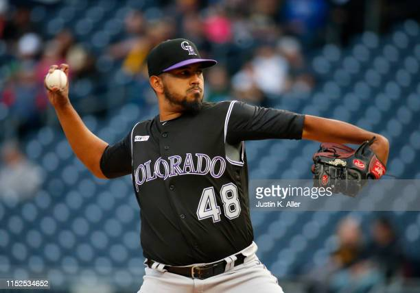German Marquez of the Colorado Rockies in action against the Pittsburgh Pirates at PNC Park on May 21, 2019 in Pittsburgh, Pennsylvania.