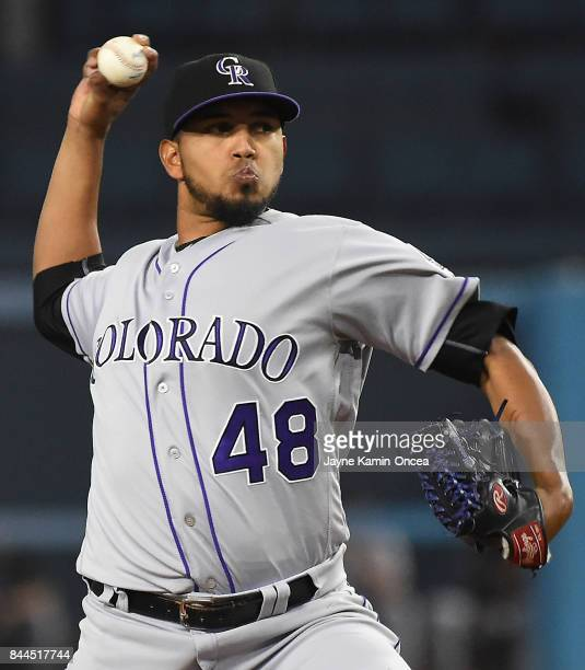 German Marquez of the Colorado Rockies in the first inning of the game against the Los Angeles Dodgers at Dodger Stadium on September 8 2017 in Los...
