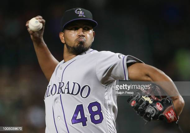 German Marquez of the Colorado Rockies pitches against the Arizona Diamondbacks during the second inning of an MLB game at Chase Field on July 20...