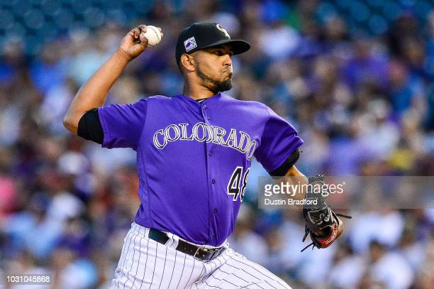German Marquez of the Colorado Rockies pitches against the Arizona Diamondbacks in the second inning of a game at Coors Field on September 10 2018 in...