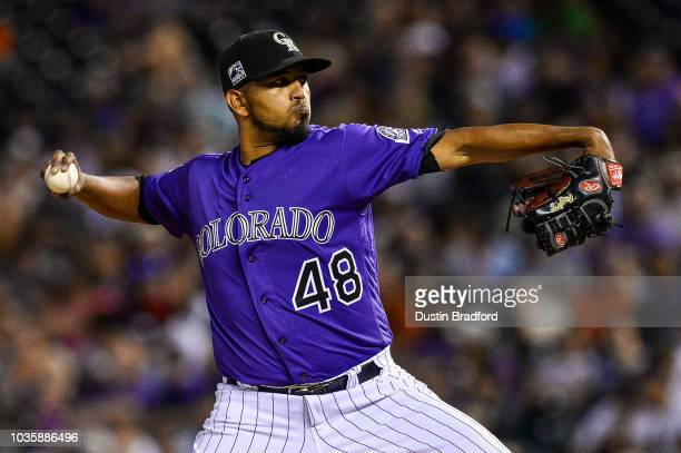 German Marquez of the Colorado Rockies pitches against the Arizona Diamondbacks at Coors Field on September 10 2018 in Denver Colorado