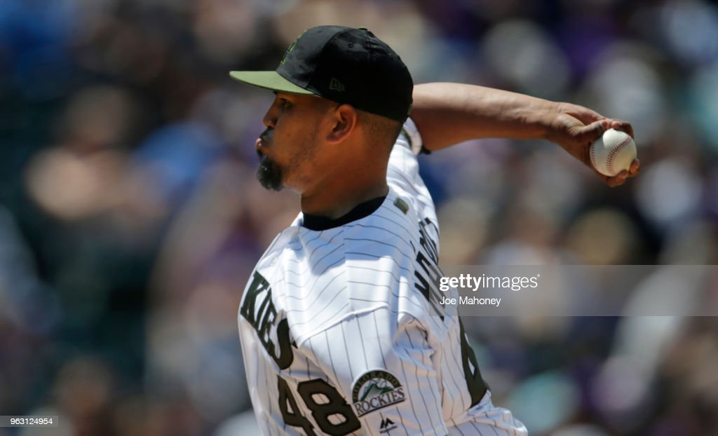 German Marquez #48 of the Colorado Rockies pitches against the Colorado Rockies in the second inning at Coors Field on May 27, 2018 in Denver, Colorado. The Rockies won 8-2.
