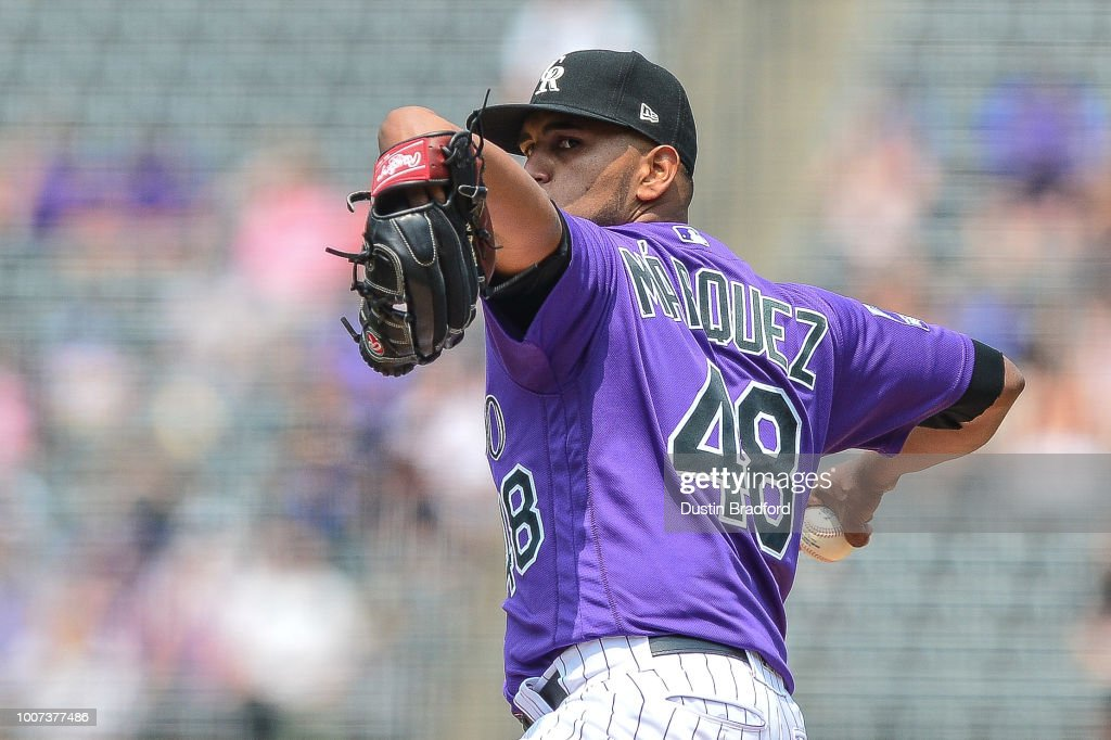 German Marquez #48 of the Colorado Rockies pitches against the Oakland Athletics in the first inning of a game during interleague play at Coors Field on July 29, 2018 in Denver, Colorado.