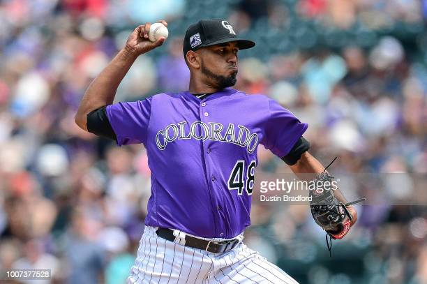 German Marquez of the Colorado Rockies pitches against the Oakland Athletics in the second inning of a game during interleague play at Coors Field on...