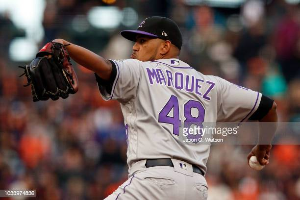 German Marquez of the Colorado Rockies pitches against the San Francisco Giants during the first inning at ATT Park on September 15 2018 in San...