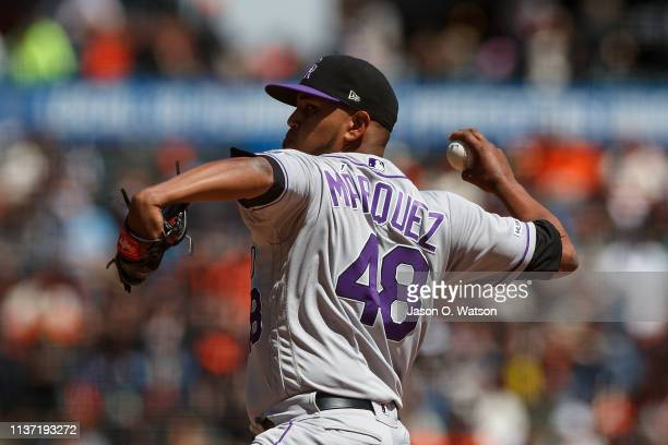 German Marquez of the Colorado Rockies pitches against the San Francisco Giants during the first inning at Oracle Park on April 14 2019 in San...