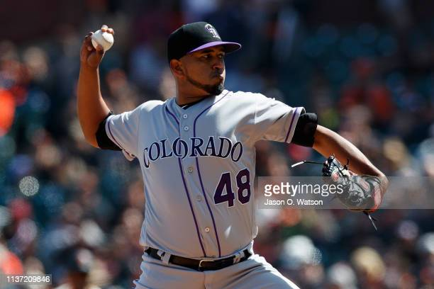 German Marquez of the Colorado Rockies pitches against the San Francisco Giants during the seventh inning at Oracle Park on April 14 2019 in San...