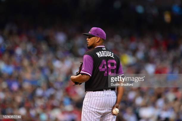 German Marquez of the Colorado Rockies pitches against the St Louis Cardinals at Coors Field on August 25 2018 in Denver Colorado Players are wearing...