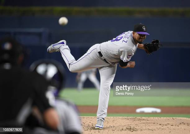 German Marquez of the Colorado Rockies pitches during the first inning of a baseball game against the San Diego Padres at PETCO Park on August 30...