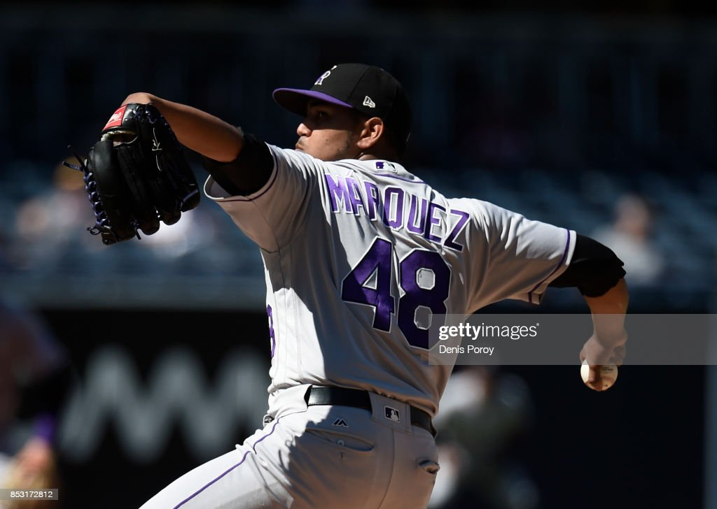 German Marquez #48 of the Colorado Rockies pitches during the first inning of a baseball game against the San Diego Padres at PETCO Park on September 24, 2017 in San Diego, California.