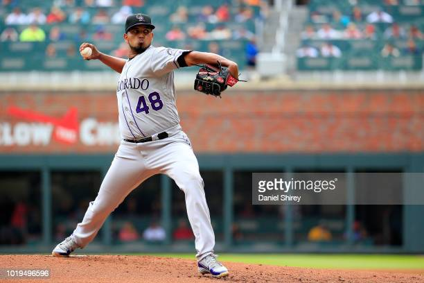 German Marquez of the Colorado Rockies pitches during the first inning against the Atlanta Braves at SunTrust Park on August 19 2018 in Atlanta...