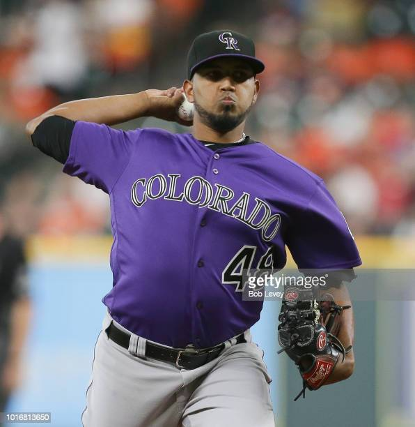 German Marquez of the Colorado Rockies pitches in the first inning against the Houston Astros at Minute Maid Park on August 14 2018 in Houston Texas