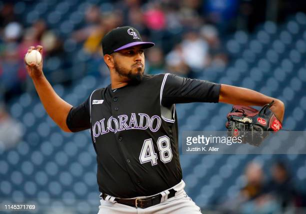 German Marquez of the Colorado Rockies pitches in the first inning against the Pittsburgh Pirates at PNC Park on May 21, 2019 in Pittsburgh,...