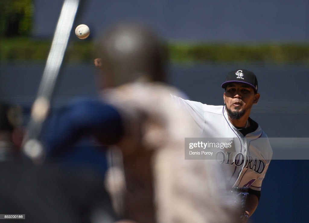 German Marquez #48 of the Colorado Rockies pitches to Carlos Asuaje #20 of the San Diego Padres during the first inning of a baseball game at PETCO Park on September 24, 2017 in San Diego, California.
