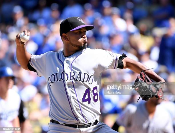 German Marquez of the Colorado Rockies pitches to the Los Angeles Dodgers in the third inning during the National League West tiebreaker game at...