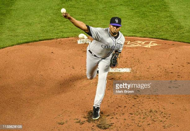 German Marquez of the Colorado Rockies throws a pitch in the first inning during the game against the Miami Marlins at Marlins Park on March 29 2019...