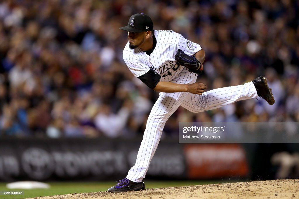 German Marquez #48 of the Colorado Rockies throws in the sixth inning against the Los Angeles Dodgers at Coors Field on September 30, 2017 in Denver, Colorado.